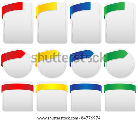 Set of Labels in Different Shapes and Colors