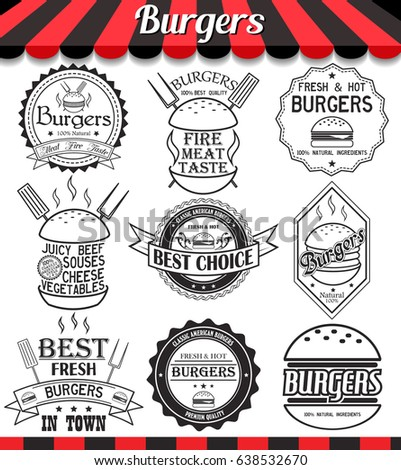 Set of labels, stickers, logos and logotypes elements for burger and hamburger