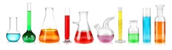 Set of laboratory glassware on white background