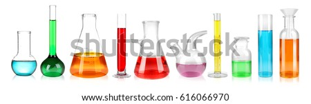 Set of laboratory glassware on white background  Foto stock ©