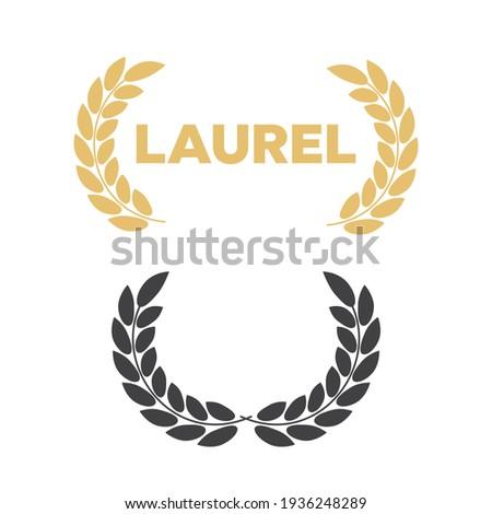 Set of laurel wreaths s. Laurel wreath with golden ribbon