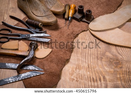 Free Photos Set Of Leather Craft Tools On Wooden Background