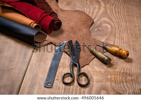 Picnetz Set Of Leather Craft Tools On Wooden Background Workplace