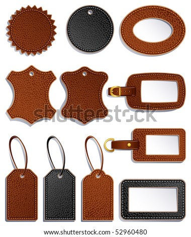 set of leather luggage labels and tag - raster version