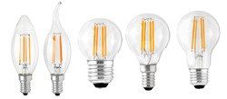 set of LED filament bulbs isolated classic types
