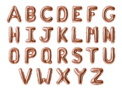 Set of letters A-Z, Rose gold foil balloon alphabet isolated on white background with Clipping Path