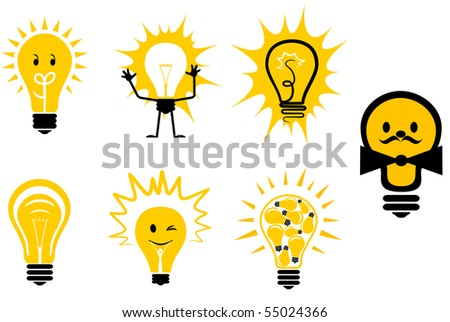 Set of light bulb symbols for design - also as emblem or logo template. Vector version also available
