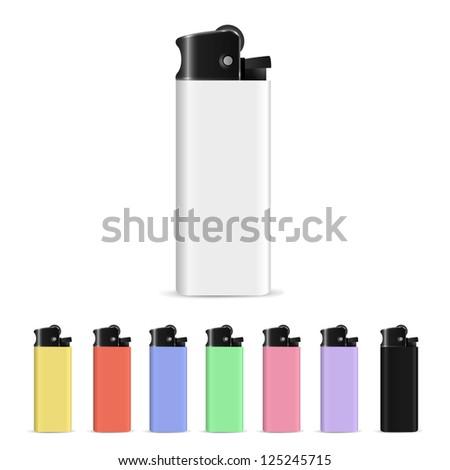 Set of lighters. Raster version