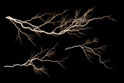 Set of  Lightning and thunder bolt  isolated  on black background, The concept of the intensity of weather, rainstorm.
