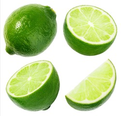 Set of limes isolated on white background