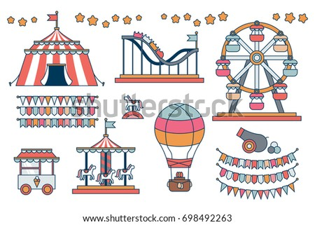 Set of line icon Circus attraction elements.