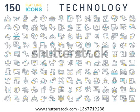Set of line icons of technology for modern concepts, web and apps.