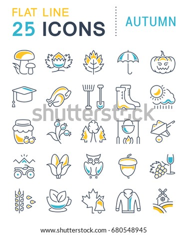 Set of line icons, sign and symbols in flat design autumn with elements for mobile concepts and web apps. Collection modern infographic logo and pictogram. Raster version.