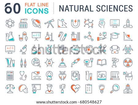 Set of line icons, sign and symbols in flat design of natural history with elements for mobile concepts and web apps. Collection modern infographic logo and pictogram. Raster version.
