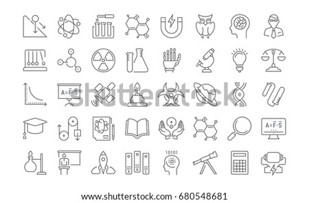 Set of line icons, sign and symbols in flat design physic with elements for mobile concepts and web apps. Collection modern infographic logo and pictogram. Raster version.