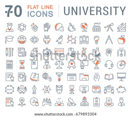 Set of line icons, sign and symbols in flat design university, e-learning and science with elements for mobile concepts and web apps. Collection modern infographic logo and pictogram. Raster version.