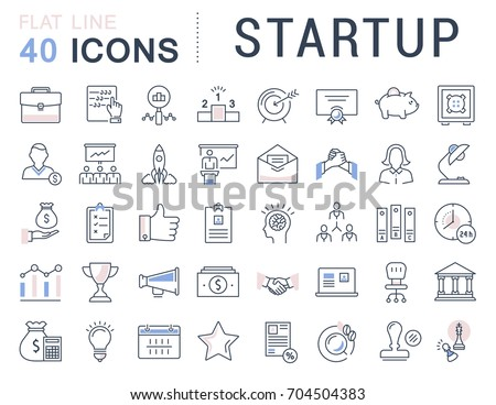 Set of line icons startup and business in flat design with elements for mobile concepts and web apps. Collection modern infographic logo and pictogram. Raster version.
