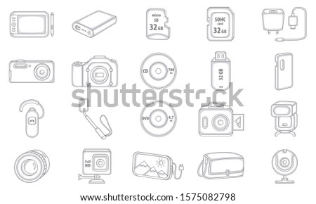 Set of Liner Icons. Electronic Devices. Digital Devices.