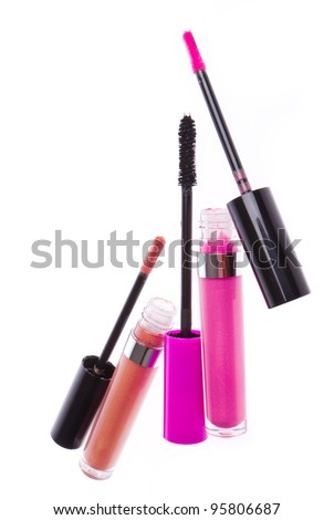 set of lip glosses isolated on white background