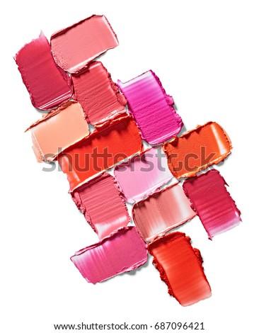 Set of lipstick stroke isolated on white background #687096421