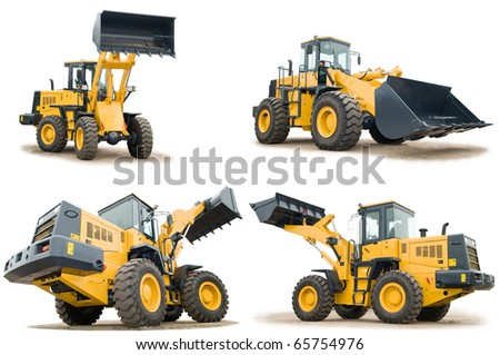 set of Loaders excavators construction machinery equipment isolated