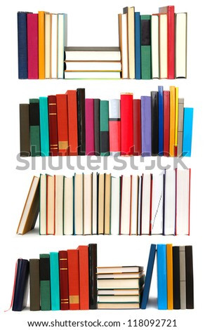 Set of long row textbooks on school
