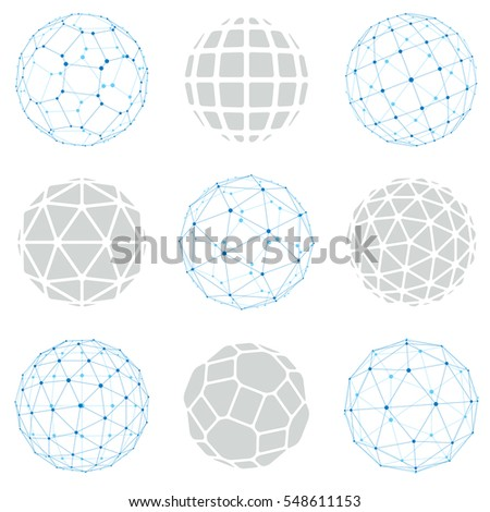 Set of low poly spherical objects with connected lines and dots, 3d geometric wireframe shapes. Perspective trigonometry facet orbs created with triangles, squares and pentagons.