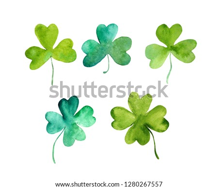 Set of lucky clover leaves (trefoils) with 3 and 4 (four) leaf. Watercolor for Saint Patrick day