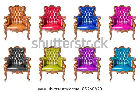 set of luxury armchair isolated