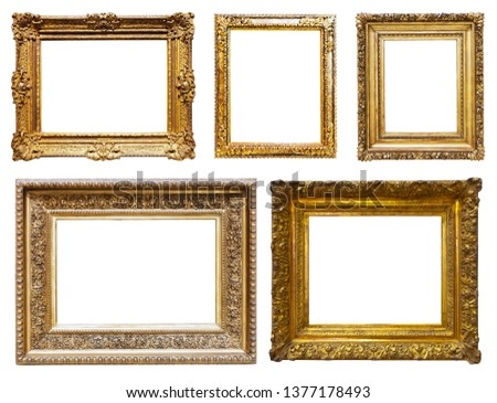 Set of luxury gold picture frames. Isolated on white background, may be used for photo or picture