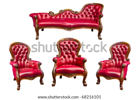 set of luxury red leather armchair isolated