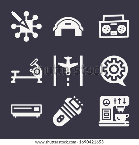 Set of 9 machine filled icons such as stereo hand drawn audio tool, coffee machine, rowing, dvd player, aeroplane, hangar, setting, algorithm