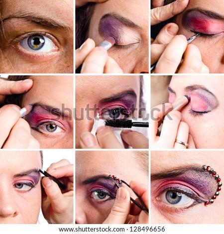 set of macro shots of eye make-up , saved clipping path