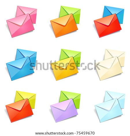 Set of mail icon on different color. Vector version available in my gallery.