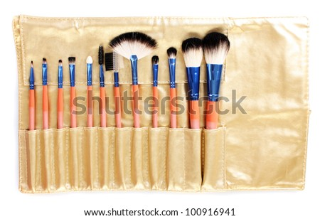 Set of make-up brushes in golden leather case isolated on white