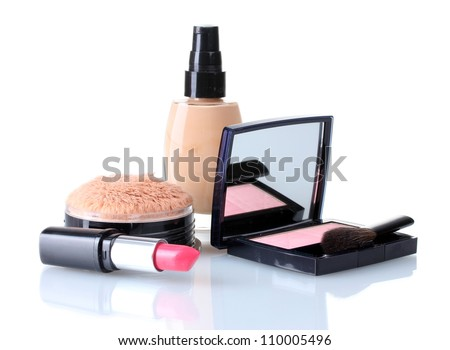 set of make-up products isolated on white