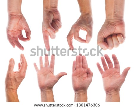 Set of male caucasian hand gestures on white background #1301476306