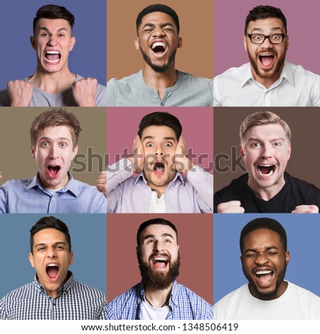 Set of male emotional portraits. Young men grimacing and gesturing on camera at colorful studio backgrounds #1348506419