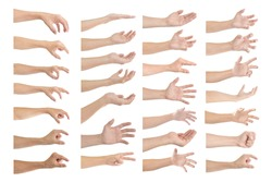 Set of male hand gestures isolated on a white background.