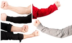 Set of male hands in different sleeves and without them, clenched into a fist. isolated