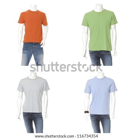 Set of male mannequin dressed with colorful t-shirt