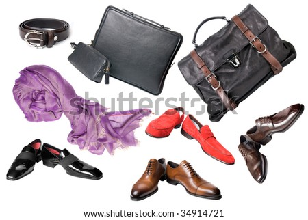 set of male shoes, accessories and bags isolated on white