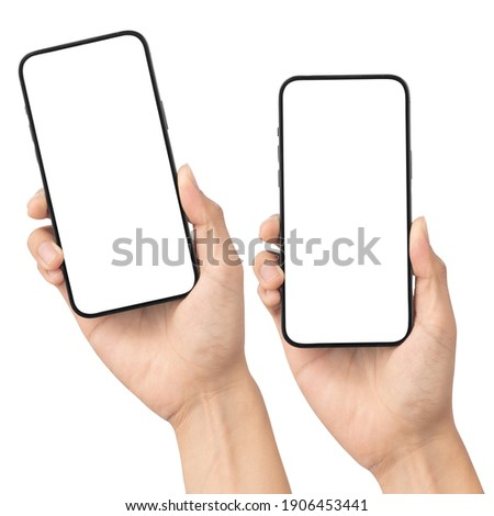 Set of man hand holding the black smartphone with blank screen isolated on white background with clipping path, Can use mock-up for your application or website design project.