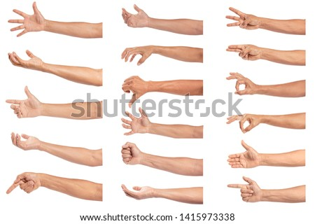 Set of man hand isolated on white background.