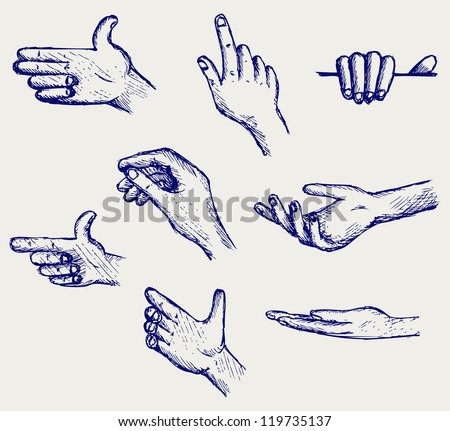 Set of many different hands. Doodle style. Raster version