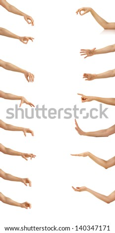 set of many woman arms in a different phases isolated on a white background