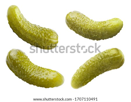 Set of marinated pickled cucumbers, isolated on white background Сток-фото ©
