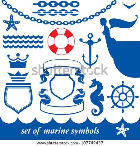 Set of marine elements - chain, anchor, crown, shield, wheel, noun, etc. Raster version