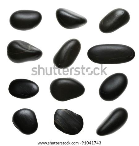 Set of massage pebbles isolated on white background