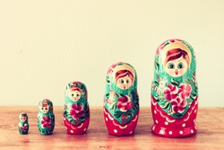 set of matrioshka dolls. retro filter